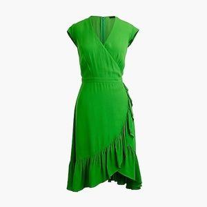 J. Crew green faux wrap dress size 8 ruffle